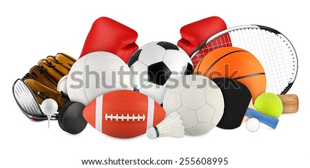 sports equipment on white background - stock photo