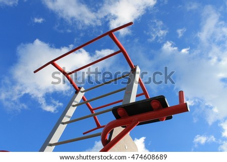Sports equipment, running track, bleachers, football field