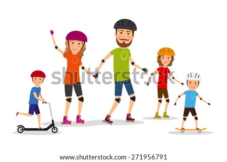 Sports family. Mom, dad and kids roller skate. Lifestyle healthy - stock photo