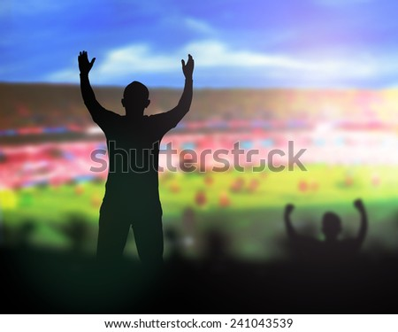Sports fans at playing field. - stock photo
