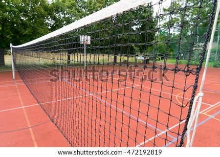 Sports field with volleyball net