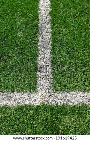 Sports field with white line markings - stock photo