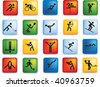 sports figure icon character set in different positions - stock photo