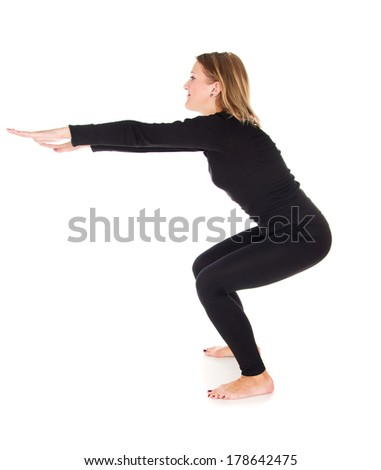 Sports girl doing exercises isolated - stock photo