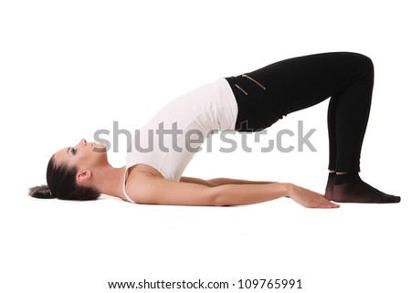 sports girl stretches - stock photo
