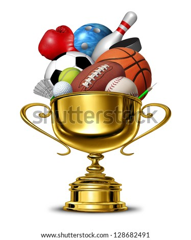 Sports gold cup winner trophy with a blank metal base as a group activity success concept for winning and being first and the best in a team or individual sport competition championship on white. - stock photo