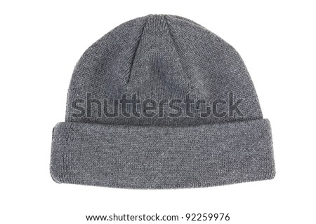 Sports hats knitted gray on a white background