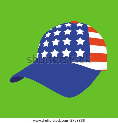Sports headdress of the baseball player with symbolics of the United States of America