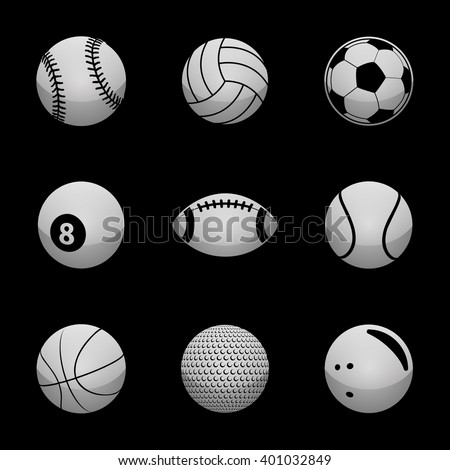 Sports Icon Set with Silver Icons. Raster Version