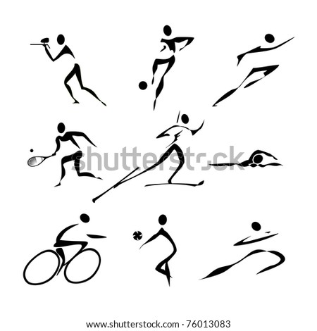 Sports icons collection, raster version - stock photo