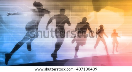 Sports Illustration Abstract Background with Silhouette Art 3D Illustration Render - stock photo