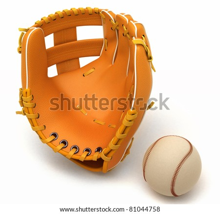 Sports in USA: baseball glove and ball over white background