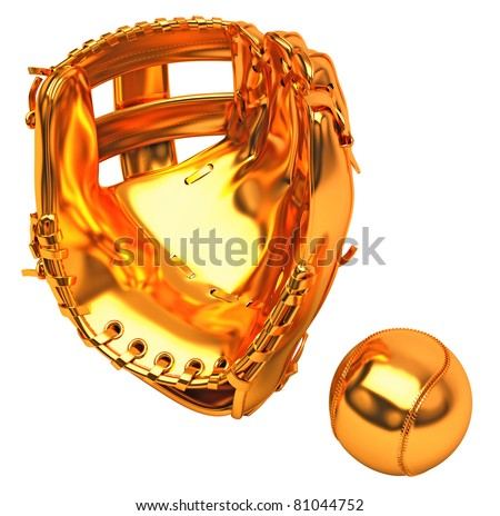 Sports in USA: golden baseball glove and ball over white background