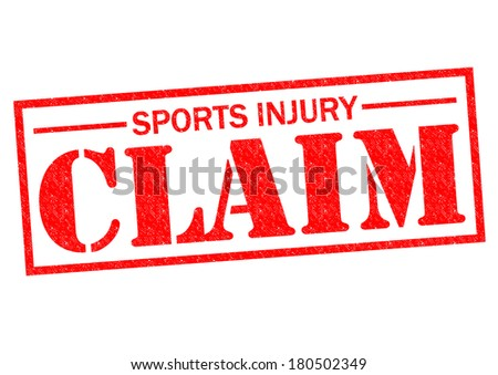 SPORTS INJURY CLAIM red Rubber Stamp over a white background. - stock photo