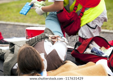 Sports injury first aid - stock photo