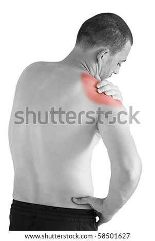 sports injury - young man having neck and shoulder ache making massage - stock photo