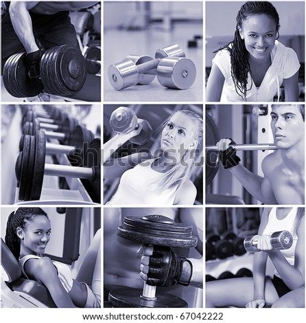 Sports  lifestyle concept. People in the gym. - stock photo