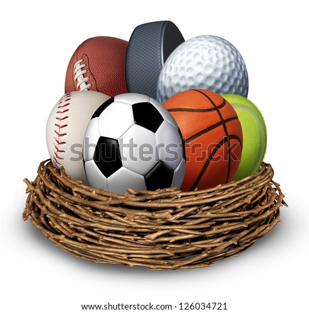Sports nest concept with a football basketball hockey puck baseball  tennis soccer golf ball in the shape of an egg as a symbol of health and fitness through physical activity for family and youth. - stock photo