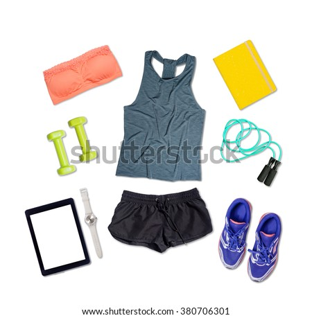 Sports outfit and equipment on white isolated background - stock photo