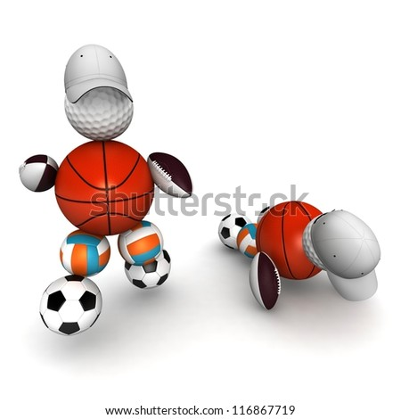sports person (player) from different balls . team with a leader. Sport concept. 3d illustration isolated on white background - stock photo