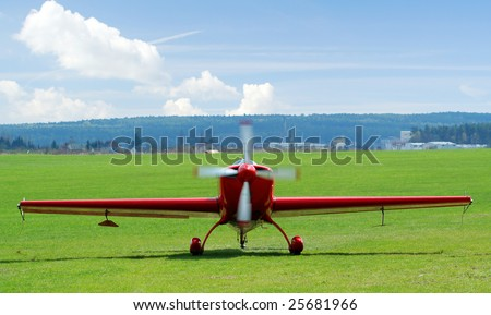 Sports plane in Plasy airfield - stock photo
