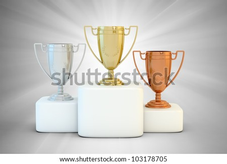 Sports podium for the first, second and third place - stock photo