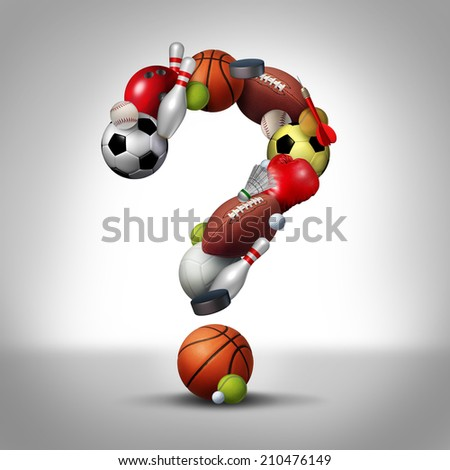 Sports questions symbol as equipment with a football basketball baseball soccer tennis and golf ball shaped as a question mark as a concept for decisions in choosing a healthy leisure activity. - stock photo