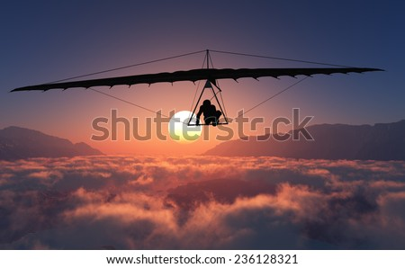 Sports radical against on sunset background - stock photo