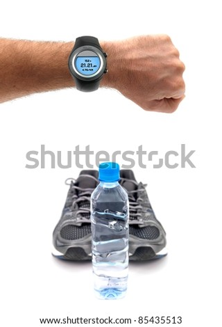 Sports runners isolated against a white background - stock photo