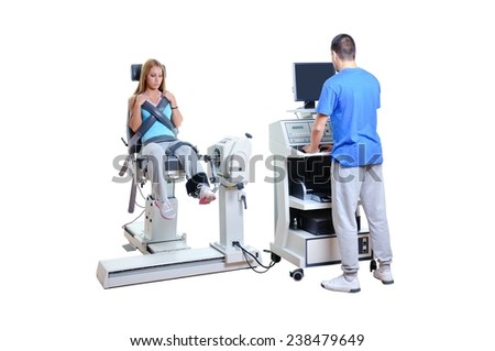 Sports Scientist doing Performance Assessment. Modern Technology. - stock photo