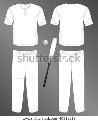 Sports series. Realistic team baseball uniform: pants and jersey with 2 button neck (front and back). Blank template - just add your art. - stock photo