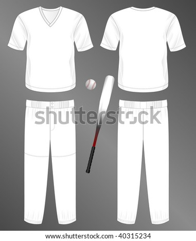 Sports series. Realistic team baseball uniform: pants and v-neck jersey (front and back). Blank template - just add your art. - stock photo