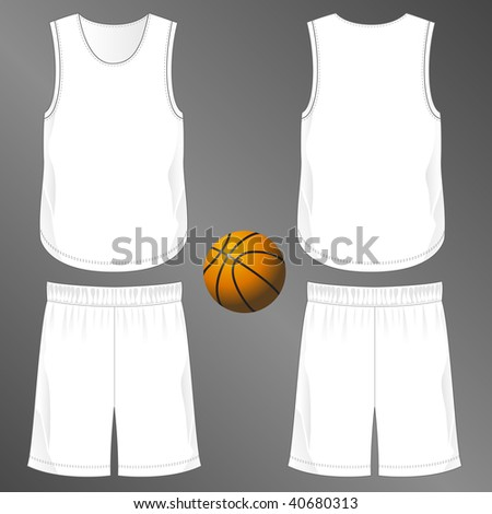 Sports series. Realistic team basketball uniform: shorts and round neck sleeveless jersey  (front and back). Blank template - just add your art. - stock photo