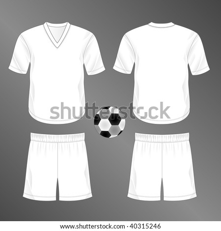Sports series. Realistic team soccer (European football) uniform: shorts and jersey with v-neck (front and back). Blank template - just add your art. - stock photo