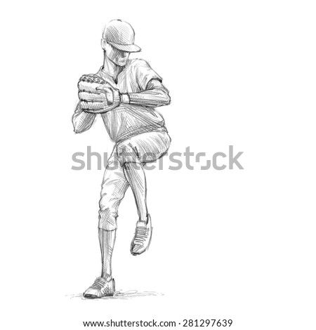 sports series sketchy pencil drawing of a baseball player pitcher high resolution scan