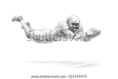 Sports Series / Sketchy pencil drawing of an American football player / High Resolution Scan