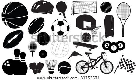 sports silhouettes - stock photo