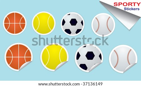 Sports Stickers Set - stock photo
