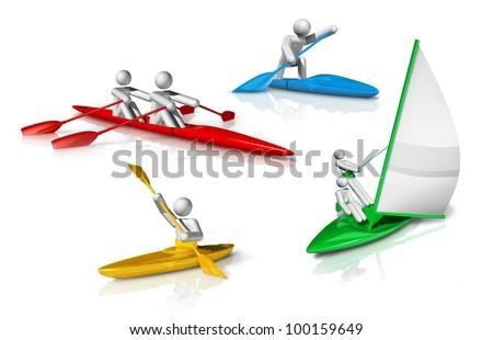 sports symbols icons series 3 on 9, canoe, kayak, rowing, sailing - stock photo