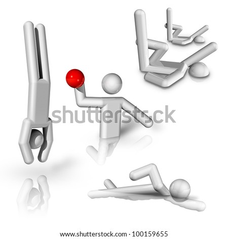 sports symbols icons series 8 on 9, diving, swimming, water polo, synchronised swimming - stock photo
