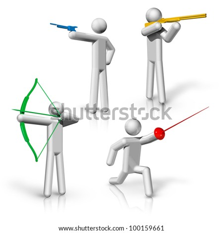 sports symbols icons series 1 on 9, Shooting, archery, fencing - stock photo