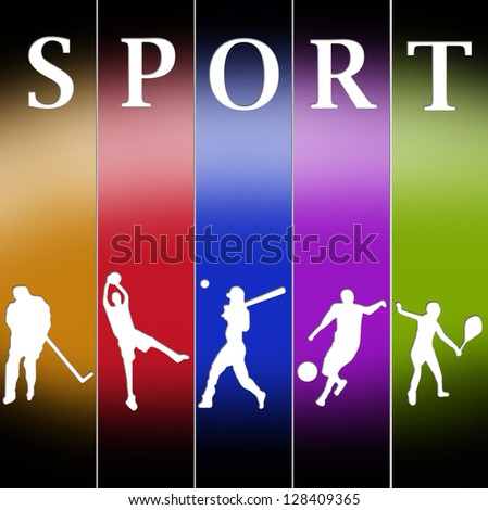 Sports templates in different colors poses - stock photo