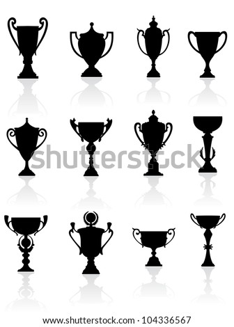 Sports trophies and awards silhouettes set for design, such logo. Vector version also available in gallery