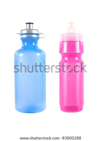 Sports water bottles isolated against a white background - stock photo