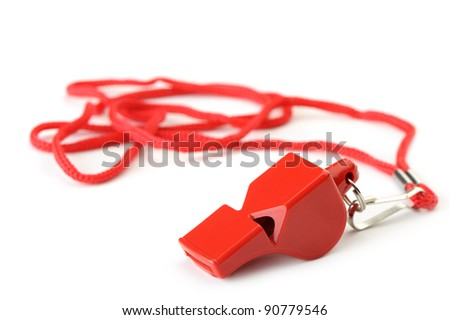 Sports whistle with a lace. It is isolated on a white background