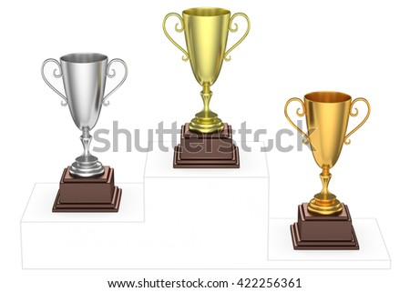 Sports winning and championship and competition success concept - golden, silver and bronze winners trophy cups isolated on the imaginary winners podium drawn by gray lines, 3d illustration, top view