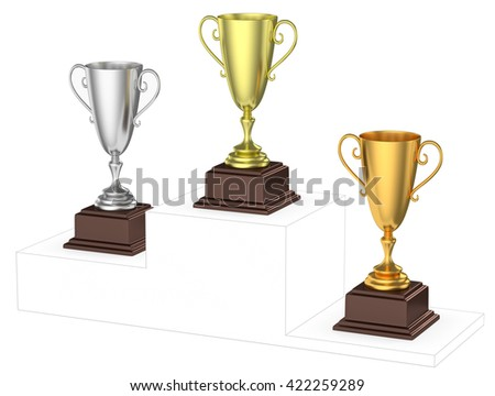 Sports winning and championship and competition success concept - golden, silver and bronze winners trophy cups isolated on the imaginary winners podium drawn by gray lines 3d illustration, diagonal - stock photo