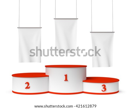 Sports winning and championship and competition success symbol - round sports pedestal, winners podium with red first, second and third places and blank white flags, 3d illustration, closeup, isolated