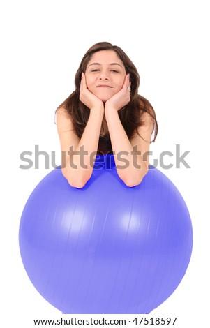 sports woman gym blue ball - stock photo