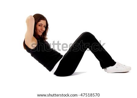Sports woman training abdominal - stock photo